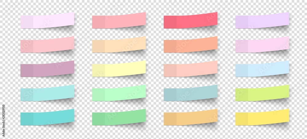 Fototapety, obrazy: Post note stickers with shadow. Vector color paper sticky memos. Colorful school tags. Label sticker list