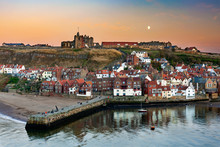 Whitby At Dusk, Yorkshire, Eng...