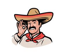 Mexican Man In Sombrero Logo. Cartoon Vector Illustration