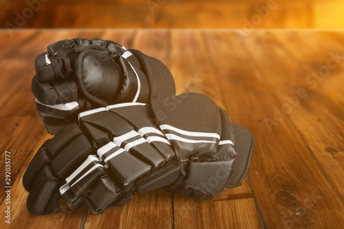 Pair of Black Ice Hockey Gloves, Isolated on Transparent Background Wallpaper Mural