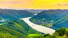 Danube River In Hilly Wachau Valley Landscape, Austria