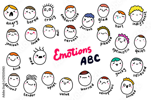 Emotions abc hand drawn vector illustration in cartoon comic style Wallpaper Mural