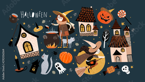 Happy Halloween! Set of objects: a cute witch on a broomstick, a witch makes a potion, a castle, a house, a pumpkin, a pet cat, a tree, a ghost Canvas Print