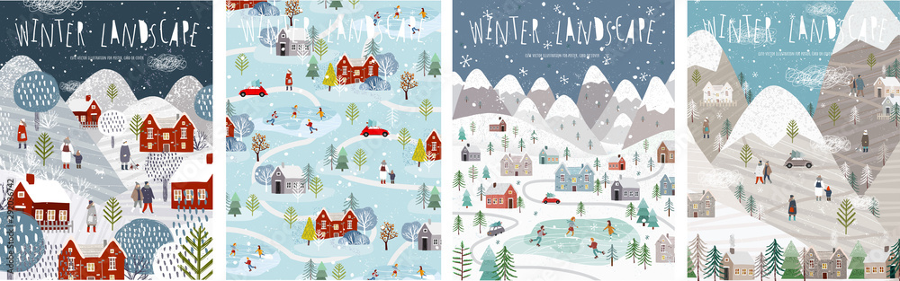 Fototapeta Winter landscape. Vector illustration of nature, city, houses, people, trees and mountains in the New Year and Christmas holidays. Drawings for poster, background or card.