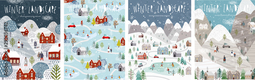 Obraz Winter landscape. Vector illustration of nature, city, houses, people, trees and mountains in the New Year and Christmas holidays. Drawings for poster, background or card. - fototapety do salonu
