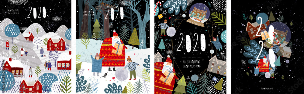Fototapeta 2020! Merry Christmas and a happy new year! Vector illustration with the congratulation of the coming year, night winter cityscape, family and children with santa claus and numbers 2020.