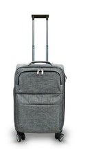 Gray Travel Bag On Wheels On A White Background, Isolated.