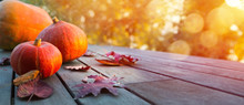 Autumn Pumpkin On Wooden Table; Thanksgiving Holiday Party Background,