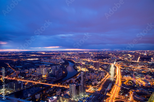 Panoramic night aero view on the Moscow. Sunset and night traffic Wallpaper Mural