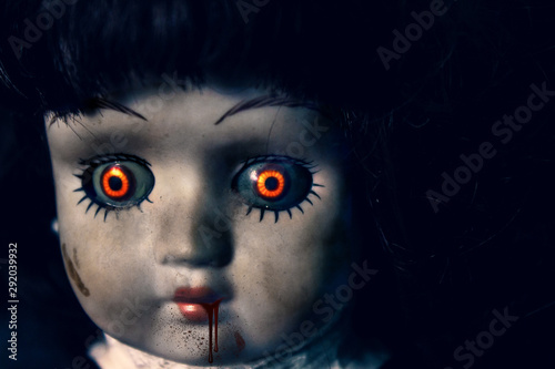 Creepy vintage doll, copy space for text Canvas Print