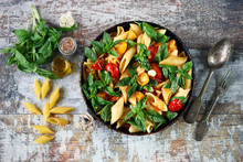 One Pan Vegan Pasta. Appetizing Pasta With Tomatoes, Basil And Spices. Selective Focus. Macro.