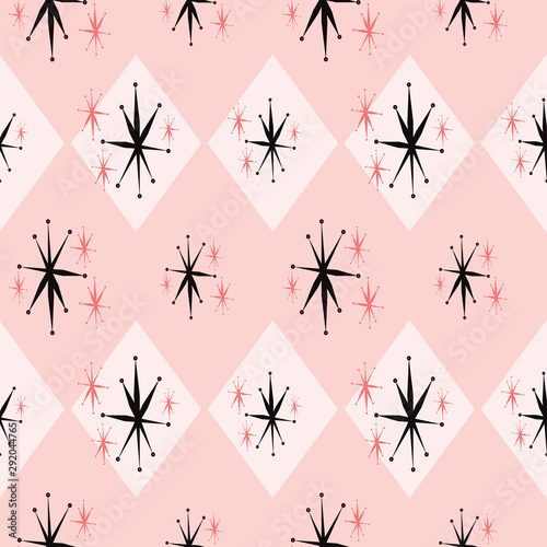 Atomic age starburst seamless pattern inspired by 1960's kitsch Wallpaper Mural