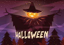 Halloween Pumpkin With Witch Hat In Halloween Scene