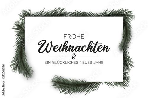 Rechteckige Weihnachtskarte 3D Effekt und Tannenzweigen Fototapeta