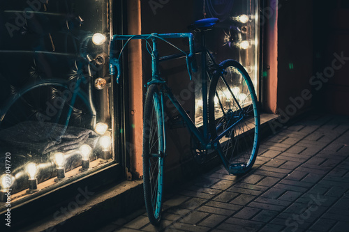 Printed kitchen splashbacks Bicycle bike parking at night