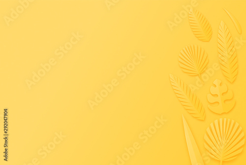 leaf on yellow background. Creative minimal modern concept of  trend color