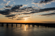 Sunset Over Bay And Bridge Sil...