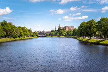 Beautiful View Of River Ness Flowing Through Inverness, Scotland, On A Clear Summer Day