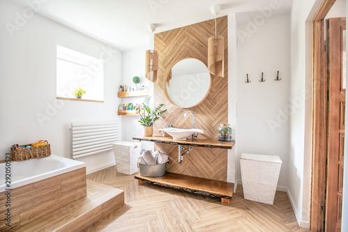 Fotografía  Boho style bathroom interior.