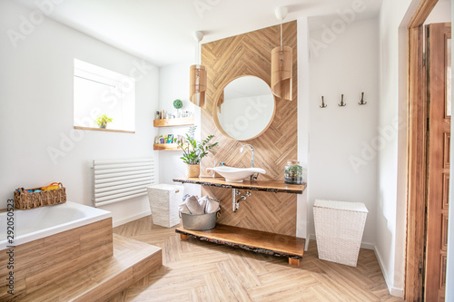 Fototapeta Boho style bathroom interior. obraz