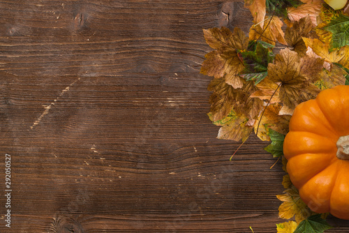 Autumn decoration with fallen leaves and pumpkin on wooden background Slika na platnu