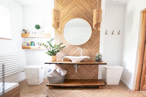 Fotomural  Boho style bathroom interior.