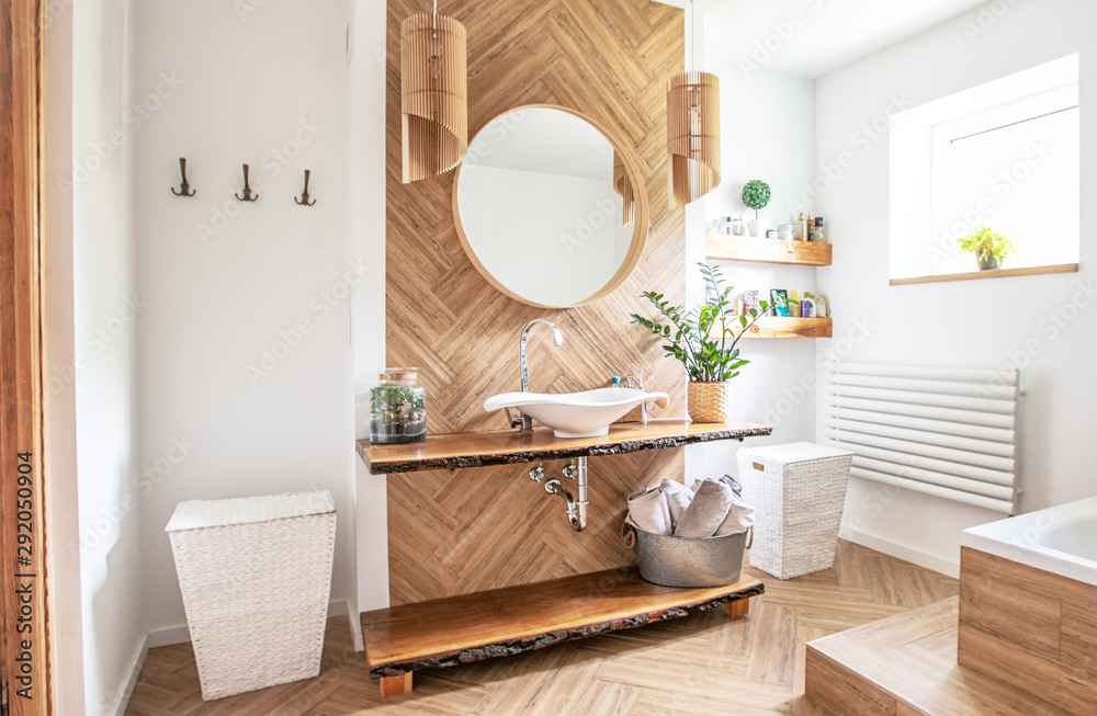 Fototapeta Boho style bathroom interior.