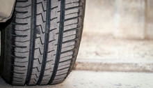 Car Tire Tread And Tread Depth. Vehicle Tire Exterior View