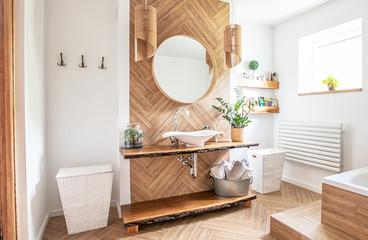 Boho style bathroom interior.