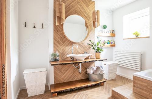 Fototapety, obrazy: Boho style bathroom interior.