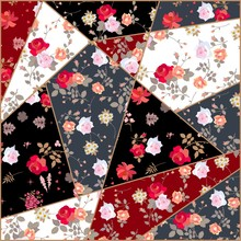 Patchwork Pattern From Fabrics With Rose Flowers. Quilt Design For Bandana Print, Cushion, Rug.