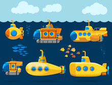 Bathyscaphe Cartoon, Yellow Su...