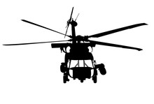 United States U.S. Coast Guard, Sikorsky MH-60 Jayhawk, U.S. Coast Guard - From The Front In Black With White Window On White Background