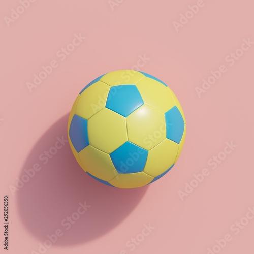Żółta piłka nożna na różowy kolor, tło, widok z góry. minimalny sport pomysł. Wizualizacja 3D.