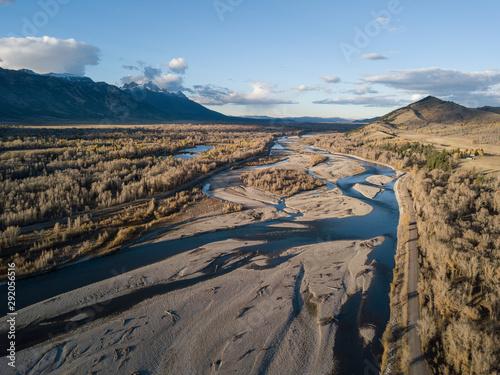 Foto op Aluminium Arctica River basin sunset aerial landscape views