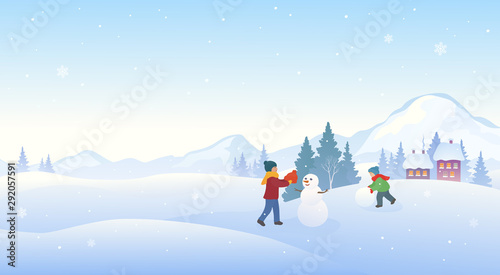 Foto auf AluDibond Licht blau Winter kids and snowman