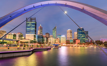 Elizabeth Quay Perth Framed By Bridge