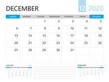Calendar 2020 Template, DECEMBER 2020 Year, Desk Calendar 2020 Layout, Corporate Design Planner Template. Blue Color