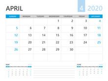 Calendar 2020 Template, APRIL ...