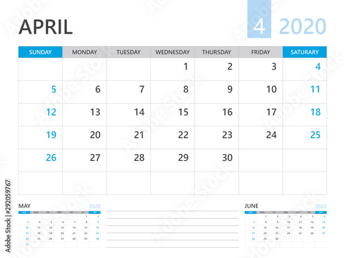 Calendar 2020 template, APRIL 2020 year, corporate design planner template Canvas Print