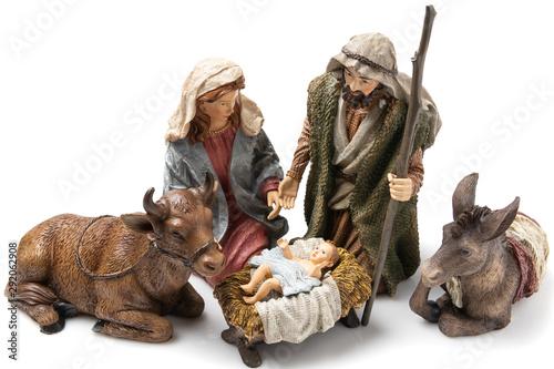 Holy Family: Virgin Mary, Saint Joseph, the Ox, the donkey and Baby Jesus Cerami Wallpaper Mural