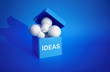 canvas print picture Ideas inspiration concepts with group of lightbulb in blue box on color background space.Business creativity.