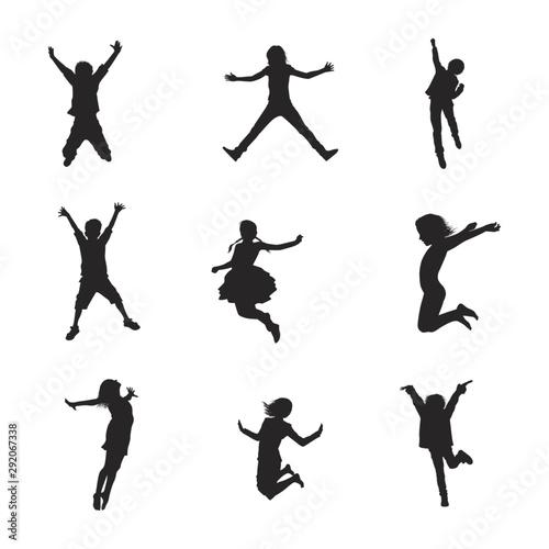 Fototapeta  Happy Kids Jumping Silhouettes