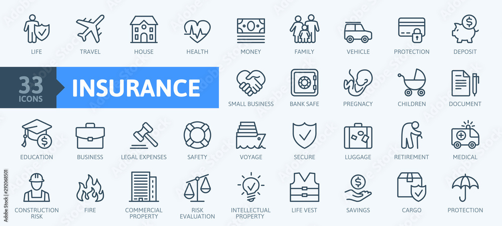 Fototapety, obrazy: Insurance elements - minimal thin line web icon set. Outline icons collection. Simple vector illustration.