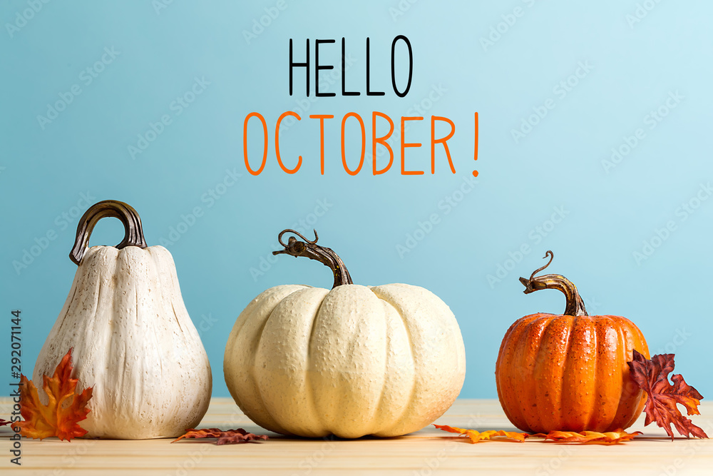 Fototapety, obrazy: Hello October message with pumpkins on a blue background