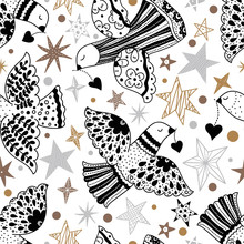 Doves And Stars.  Christmas Motif. Vector Seamless Pattern. Can Be Used In Textile Industry, Paper, Background, Scrapbooking.