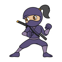 Cartoon Female Ninja Vector Illustration