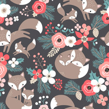 Seamless Vector Pattern With Cute Hand Drawn Fox Family And Flowers On Dark Grey Background. Perfect For Textile, Wallpaper Or Print Design.