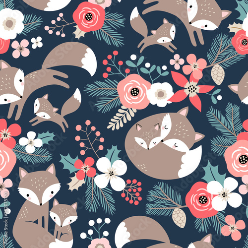 Fotografie, Obraz Seamless vector pattern with cute hand drawn fox family and flowers on dark blue background