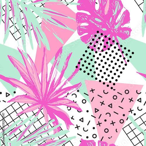 funky-floral-geometric-seamless-pattern-in-trendy-memphis-style-the-80s-90s-neon-colors